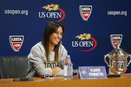us open: NEW YORK - SEPTEMBER 12, 2015: US Open 2015 champion Flavia Pennetta of Italy during press conference after final match at US Open 2015 at National Tennis Center in New York