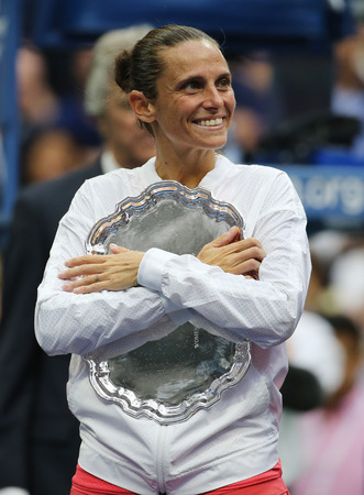 finalist: NEW YORK - SEPTEMBER 12, 2015:US Open 2015 finalist Roberta Vinci of Italy during trophy presentation after women s final match at US OPEN 2015 at Billie Jean King National Tennis Center in New York