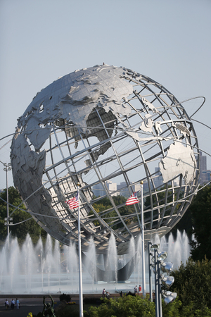 flushing: NEW YORK - SEPTEMBER 8, 2015: 1964 New York World Fair Unisphere in Flushing Meadows Park. It is the worlds largest global structure, rising 140 feet and weighing 700 000 pounds