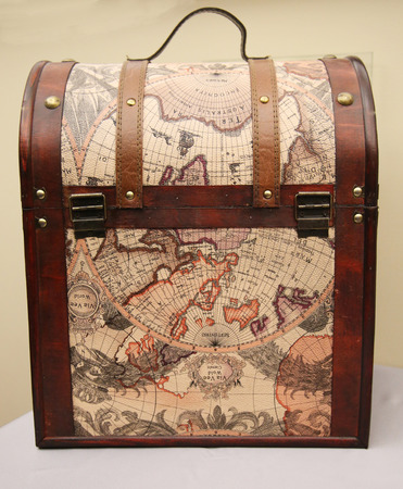 map case: CHICAGO, ILLINOIS - OCTOBER 24, 2015: Via Vee World Classic Map Style Leather Case on display in  Chicago Editorial
