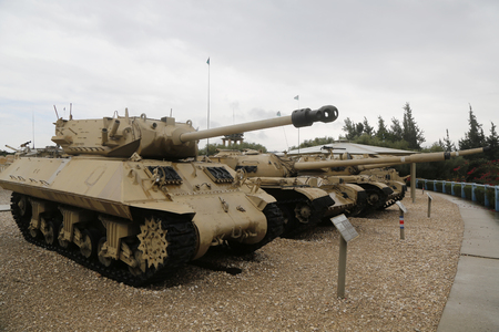 patton: LATRUN, ISRAEL - NOVEMBER 27, 2014 : M10 Achilles tank destroyer on display at Yad La-Shiryon Armored Corps Museum at Latrun