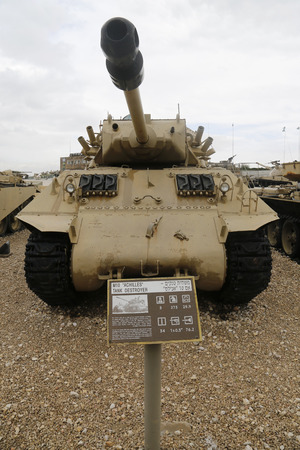 firepower: LATRUN, ISRAEL - NOVEMBER 27, 2014 : M10 Achilles tank destroyer on display at Yad La-Shiryon Armored Corps Museum at Latrun