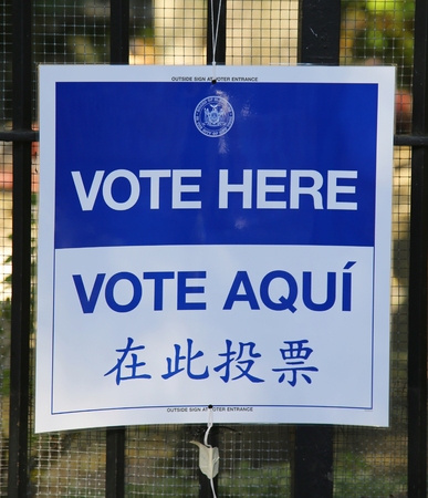 nomination: NEW YORK - NOVEMBER 3, 2015: Signs at the voting site in New York.The Voting Rights Act of 1965 is a national legislation in the United States that prohibits discrimination in voting