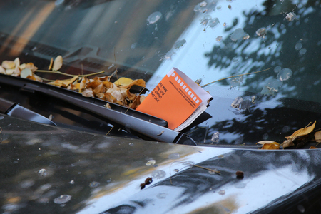law breaker: Illegal Parking Violation Citation On Car Windshield in New York