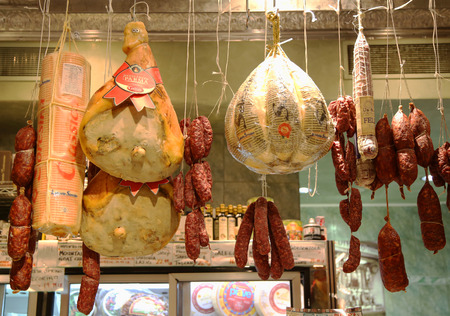 longaniza: NEW YORK -NOVEMBER 3, 2015: Cured meat, salami and cheeses in Italian store in New York. Little Italy is a neighborhood in lower Manhattan once known for its large population of Italians