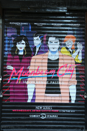 lower east side: NEW YORK - NOVEMBER 3, 2015: Mural promoting new Comedy Central TV series Moonbeam City at Lower East Side in Manhattan
