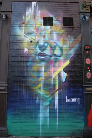 lower section view: NEW YORK - NOVEMBER 3, 2015: Mural art at  Lower East Side in Manhattan
