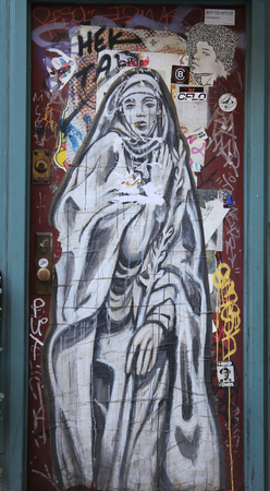 lower section view: NEW YORK - NOVEMBER 3, 2015: Street art at Lower East Side in Manhattan