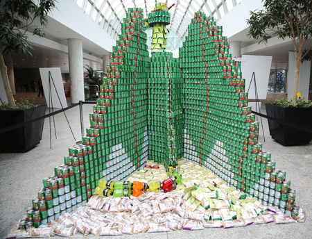 large build: UNIONDALE, NEW YORK - NOVEMBER 5, 2015: Food sculpture presented at 9th Annual Long Island Canstruction competition in Uniondale. Teams build large scale sculptures out of canned food for food drive