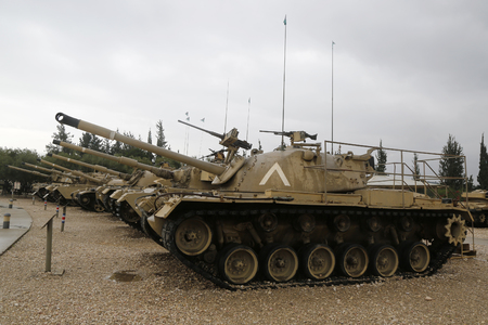 firepower: LATRUN, ISRAEL - NOVEMBER 27, 2014: Vintage tanks on display at Yad La-Shiryon Armored Corps Museum at Latrun Editorial