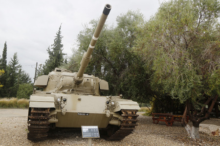 cal: LATRUN, ISRAEL - NOVEMBER 27, 2014: Shot Cal IDF modification of the Centurion primary British main battle tank on display at Yad La-Shiryon Armored Corps Museum at Latrun Editorial
