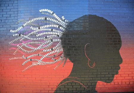 grand slam: NEW YORK - NOVEMBER 8, 2015: Tennis theme mural art inspired by Grand Slam champion Serena Williams victories in Williamsburg neighborhood in Brooklyn