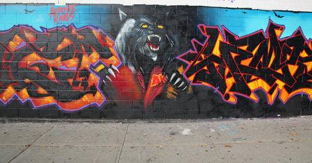 collectives: NEW YORK - NOVEMBER 8, 2015: Graffiti art at East New York in Brooklyn.