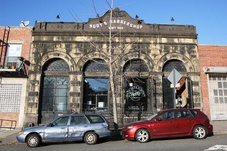 beauty shop: BROOKLYN, NEW YORK - NOVEMBER 8, 2015: Old style barber shop at East Williamsburg in Brooklyn Editorial