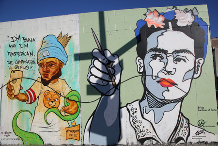 NEW YORK - NOVEMBER 8, 2015: Mural art at East Williamsburg in Brooklyn. Outdoor art gallery known as the Bushwick Collective has most diverse collection of street art in Brooklyn Redakční
