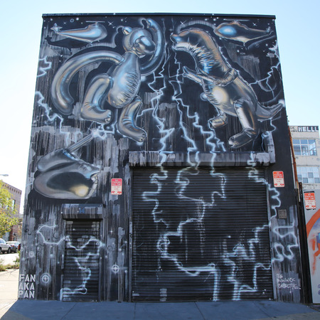 collective: NEW YORK - NOVEMBER 8, 2015: Mural art at East Williamsburg in Brooklyn. Outdoor art gallery known as the Bushwick Collective has most diverse collection of street art in Brooklyn Editorial