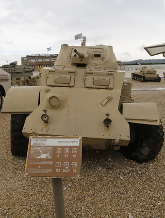armored car: LATRUN, ISRAEL - NOVEMBER 27, 2014: American made Staghound T17 armored car on display at Yad La-Shiryon Armored Corps Museum at Latrun Editorial