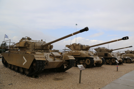 pounder: LATRUN, ISRAEL - NOVEMBER 27, 2014: Centurion primary British main battle tank MkV with the 20 pounder main gun on display at Yad La-Shiryon Armored Corps Museum at Latrun Editorial