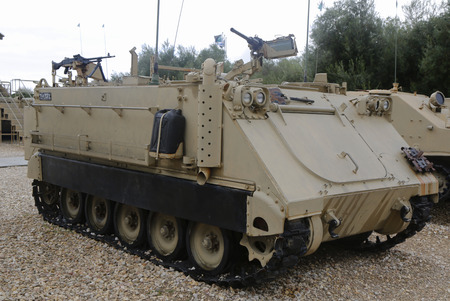 firepower: LATRUN, ISRAEL - NOVEMBER 27, 2014: American made M113 A1 armored personnel carrier on display at Yad La-Shiryon Armored Corps Museum at Latrun