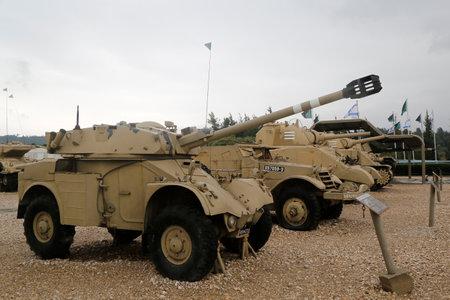 armored car: LATRUN, ISRAEL - NOVEMBER 27, 2014: French made AML 90 armored car on display at Yad La-Shiryon Armored Corps Museum at Latrun Editorial