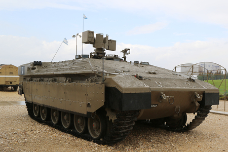 firepower: LATRUN, ISRAEL - NOVEMBER 27, 2014: Israeli made Namer Heavy Armored Personnel Carrier on display at Yad La-Shiryon Armored Corps Museum at Latrun