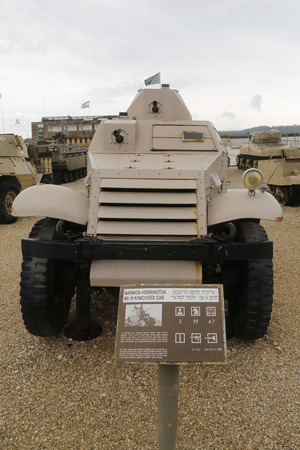 mk: LATRUN, ISRAEL - NOVEMBER 27, 2014: South African made Marmon-Herrington Armoured Car Mk 4f armored car on display at Yad La-Shiryon Armored Corps Museum at Latrun