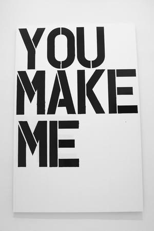 NEW YORK - JANUARY 12, 2014: Painting by Christopher Wool on display in Solomon R Guggenheim Museum of modern and contemporary art in New York