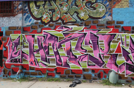 NEW YORK - JULY 24, 2014: Graffiti art at East Williamsburg in Brooklyn. Outdoor art gallery known as the Bushwick Collective has most diverse collection of street art in Brooklyn Reklamní fotografie - 48045865