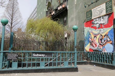 lower east side: NEW YORK CITY - APRIL 16, 2015: 2nd Avenue Subway Station entrance at Lower East Side in Manhattan. Owned by the NYC Transit Authority, the subway system has 469 stations in operation Editorial