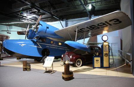 garden city: GARDEN CITY, NEW YORK - NOVEMBER 5, 2015: Grumman G-21 Goose on display at the Cradle of Aviation Museum in Garden City Editorial