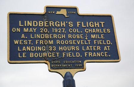 flew: GARDEN CITY, NEW YORK - NOVEMBER 5, 2015:  Charles Lindbergh s 1927 solo transatlantic flight memorial site near Roosevelt Field in Long Island, New York Editorial