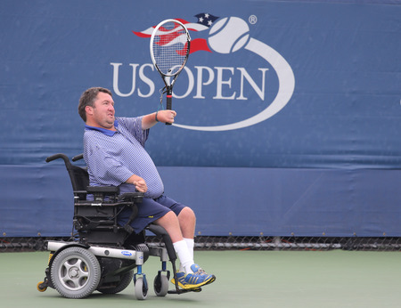 billie: NEW YORK - SEPTEMBER 12, 2015: Tennis player Nicholas Taylor of United States in action during Wheelchair Quad Singles semifinal match at US OPEN 2015 at Billie Jean King National Tennis Center in NY