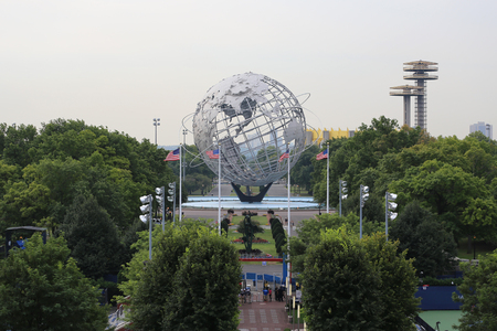 world's: NEW YORK - AUGUST 31, 2015: 1964 New York Worlds Fair Unisphere in Flushing Meadows Park. It is the world s largest global structure, rising 140 feet and weighing 700 000 pounds Editorial