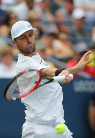 NEW YORK - AUGUST 31, 2015: Professional tennis player Mardy Fish of United States in action during his opening match at US Open 2015. Mardy Fish retires after US Open 2015.