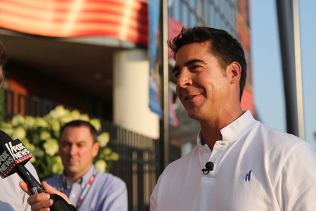 famous industries: NEW YORK - SEPTEMBER 8, 2015: Fox News  Jesse Watters taken interview in New York. Jesse Watters is getting his own Fox News Channel series of monthly specials. Editorial