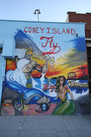 NEW YORK - NOVEMBER 15, 2015: Mural art at Coney Island in Brooklyn. A mural is any piece of artwork painted or applied directly on a wall, ceiling or other large permanent surface