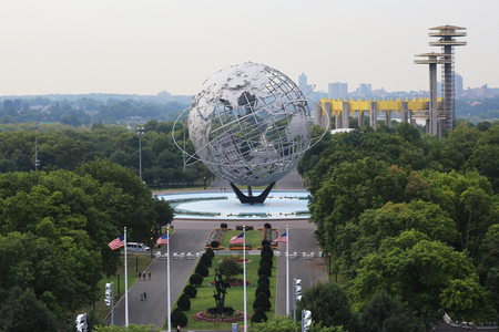 NEW YORK - AUGUST 31, 2015: 1964 New York World s Fair Unisphere in Flushing Meadows Park. It is the world's largest global structure, rising 140 feet and weighing 700 000 pounds