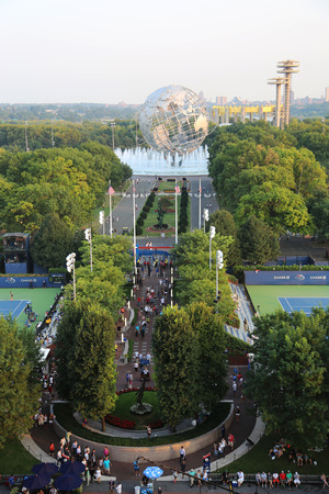 flushing: NEW YORK - SEPTEMBER 1, 2015: 1964 New York World s Fair Unisphere in Flushing Meadows Park. It is the worlds largest global structure, rising 140 feet and weighing 700 000 pounds
