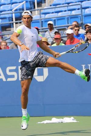 us open: NEW YORK - AUGUST 30, 2015: Fourteen times Grand Slam Champion Rafael Nadal of Spain practices for US Open 2015 at Billie Jean King National Tennis Center in New York