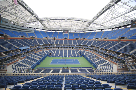 new and improved: NEW YORK - SEPTEMBER 12, 2015: Newly Improved Arthur Ashe Stadium at the Billie Jean King National Tennis Center during US Open tournament in Flushing, NY
