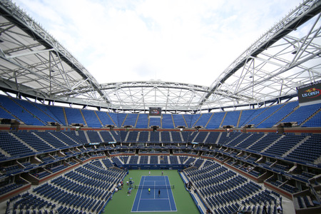 us open: NEW YORK - SEPTEMBER 12, 2015: Newly Improved Arthur Ashe Stadium at the Billie Jean King National Tennis Center during US Open tournament in Flushing, NY