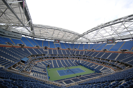 NEW YORK - SEPTEMBER 12, 2015: Newly Improved Arthur Ashe Stadium at the Billie Jean King National Tennis Center during US Open tournament in Flushing, NY