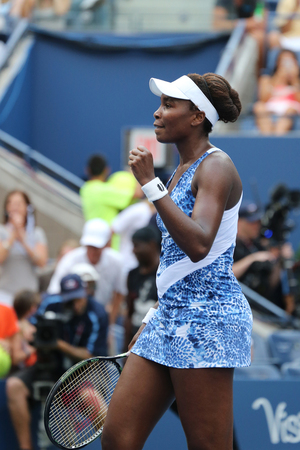 us open: EW YORK - AUGUST 31, 2015: Grand Slam champion Venus Williams celebrates victory after her first round match at US Open 2015 at National Tennis Center in New York