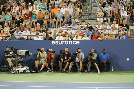 billie: NEW YORK - SEPTEMBER 3, 2015: Professional photographers at US Open 2015 at Billie Jean King National Tennis Center in New York