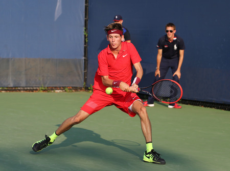 grand hard: NEW YORK - SEPTEMBER 1, 2015:Professional tennis player Jared Donaldson of United States in action during his first round match at US Open 2015 at Billie Jean King National Tennis Center in New York Editorial