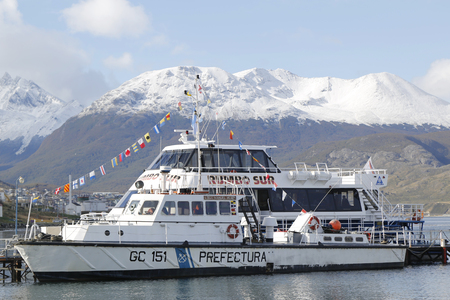 huapi: USHUAIA, ARGENTINA - APRIL 2, 2015: Argentinian Coast Guard boat GC 151 Nahuel Huapi Stan Tender 2200 class the Naval Prefecture Argentina in Ushuaia Harbor during Malvinas Day Celebration