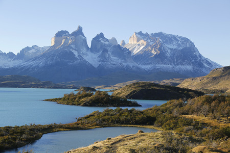 torres del paine: The Cuernos del Paine Horns of Paine and Lake Pehoe in Torres del Paine National Park, Patagonia, Chile