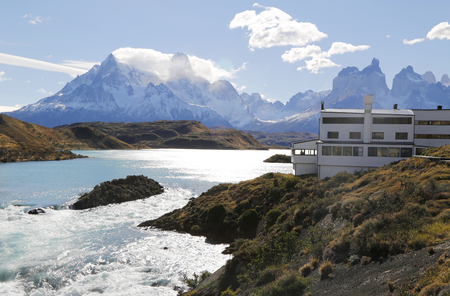 torres del paine: TORRES DEL PAINE, CHILE - APRIL 4, 2015: Hotel Salto Chico Explora Patagonia at turquoise Lake Pehoe in Torres del Paine National Park, Patagonia, Chile