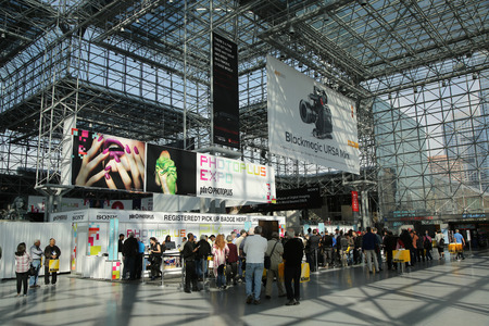 expo: NEW YORK - OCTOBER 22, 2015: Registration area at Photoplus conference and expo at Javits Center