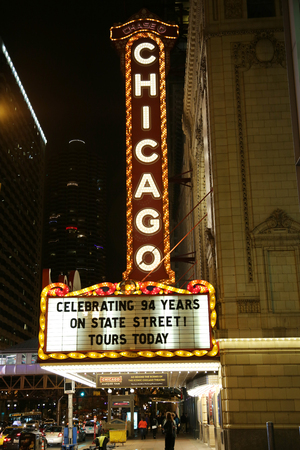 chicago: CHICAGO - OCTOBER 24, 2015: Famous Chicago sign at State Street. The Chicago Theater is a landmark theater located on North State Street in the Loop area of Chicago